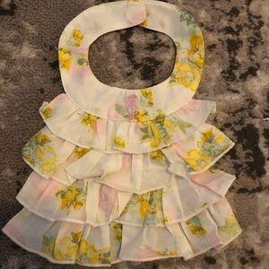 NWT Juicy Couture flower ruffle boho baby bib